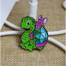 Soft Custom Enamel Pins for Tortoise and Mouse