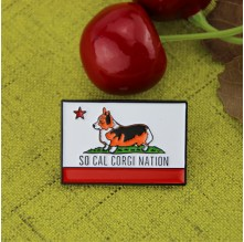 Soft Enamel Lapel Pins for Kelly Corgi Flag