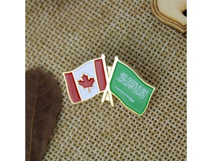 Soft Enamel Lapel Pins for Canadian and Arabian Flags
