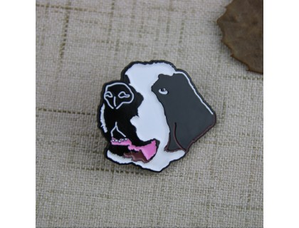Soft Enamel Pins for Black and White Dog