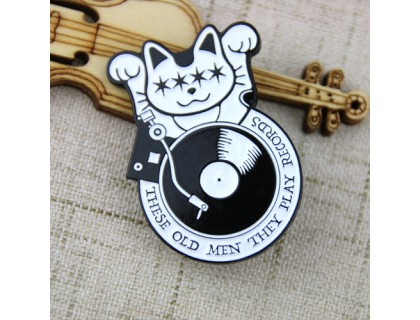 Soft Enamel Pins for Music Cat