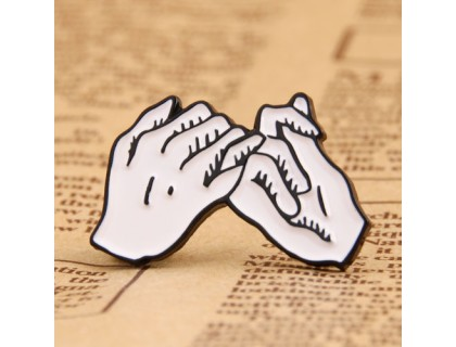 Hooked finger custom lapel pins